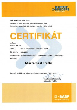 certifikát BASF MasterSeal