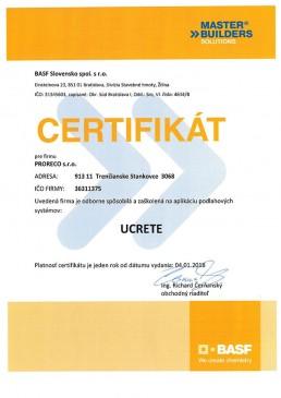 Certifikát BASF UCRETE