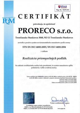 certifikát ISO 14001 2005