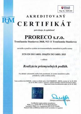 certifikát ISO 14001 2016 SK