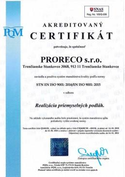 certifikát ISO 9001 2016 SK
